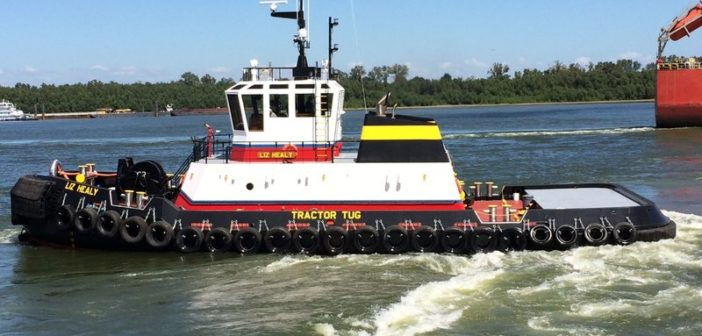 Bisso's new tractor tug will have bigger engines, Z-drives, bow winch and staple compared to its last newbuild, Liz Healy. Bisso Towboat photo