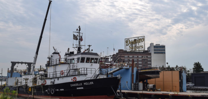 The OSV Danielle Miller was refitted at Baltimore for surveying the Skipjack Wind Farm site off Maryland. Deepwater Wind photo.
