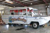 The Stretch Duck 7 recovered from Table Rock Lake, Mo., is undergoing analysis by the National Transportation Safety Board. NTSB photo.