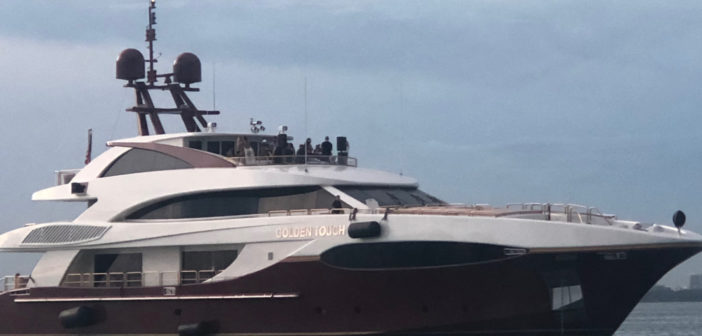 The motor yacht Golden Touch II underway on Aug. 19, 2018, in the vicinity of Nixon Beach, Fla. Coast Guard photo.
