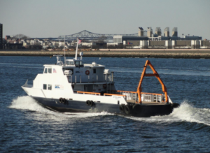 The offshore utility vessel Matthew J. Hughes is accompanying the Deepwater Wind survey of its southern New England lease area. Boston Harbor Cruises photo.