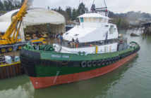The Nicole Foss was the last vessel to launch from the Foss Rainier Shipyard in June 2017. Foss Maritime photo.