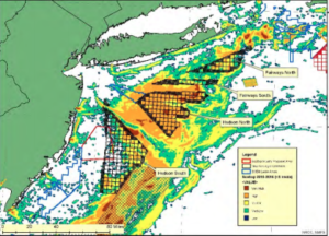 A map showing overlap between scallop fishing areas and potential future wind energy lease areas, BOEM graphic.