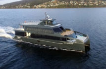 New tour boat operates in the Tasmanian wilderness for Gordon River Cruises. Incat Crowther photo