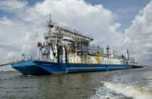 Conrad Orange Shipyard has delivered the first North American-built LNG bunker barge to Tote. Conrad Industries photo