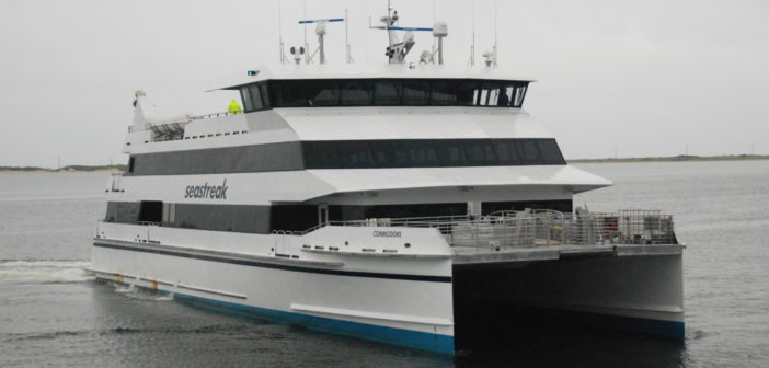 The 600-passenger Seastreak Commodore approaches its terminal at Highlands, N.J. Kirk Moore photo.