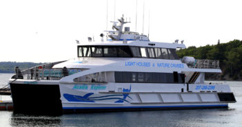 The ADA-compliant main deck cabin has seating for 114 passengers in a climate- controlled interior. In addition, the forward doors provide access to the exterior foredeck seating for 16 passengers. Incat Crowther photo