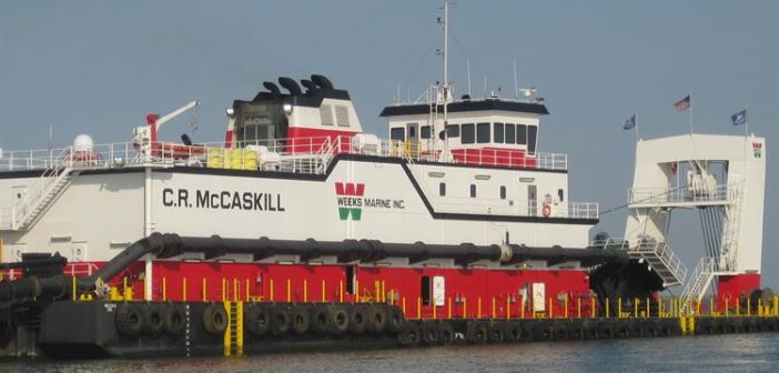Three workers were injured when a dredge pipe burst on the CR McCaskill Sept. 3, 2018. Weeks Marine photo.