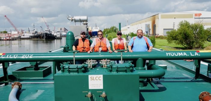 Pictured right to left: Todd Boudreaux, safety Instructor; Duffy Guidry, maritime instructor; Raymond Callais, tankerman student; Mark Courteaux, tankerman instructor and Cenac boat captain. Cenac Marine photo