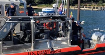 A Coast Guard 29' response boat was damaged in a training accident near Falmouth, Mass., Sept. 5, 2018. Coast Guard photo.