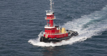 The ATB tug Evening Stroll will measure 112'x35'x17' and will be a sister vessel to the Denise A. Bouchard (pictured above), delivered in 2014. Bouchard Transportation photo