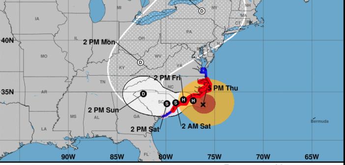 National Hurricane Center 2 p.m. Thursday update map. NOAA image.