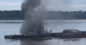 The towboat Jacob Kyle Rusthoven on fire in the Lower Mississippi River Sept. 12, 2018. Coast Guard photo.