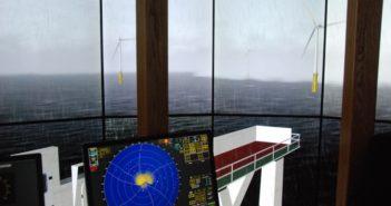 A bridge simulator at SUNY Maritime College portrays a proposed wind turbine array off New York. Kirk Moore photo.