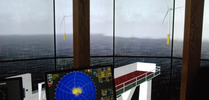 A bridge simulator at SUNY Maritime College portrays a proposed wind turbine array off New York. Kirk Moore photo.