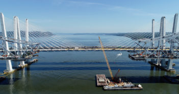 The old Tappan Zee Bridge undergoing demolition work in June 2018. New York Governor's Office photo.
