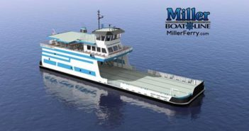 New Great Lakes ferry will be able to carry 26 cars across Lake Erie. Fraser Shipyards photo