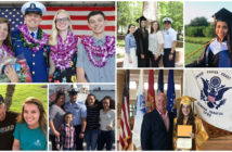 Clockwise from top left: Jessica Jackson and family; Madelynn Gaus and family; Lily Kumar; Victoria Lanning and father Michael Lanning; Victoria Domenech (center right) and family; Emily Johnson and father Jere R. Johnson. Coast Guard Foundation photo