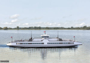 The Amherst Island ferry is due to be delivered in 2020. With a length of 68 m and width of 25 m, it will accommodate up to 300 people and 42 cars. Schottel photo