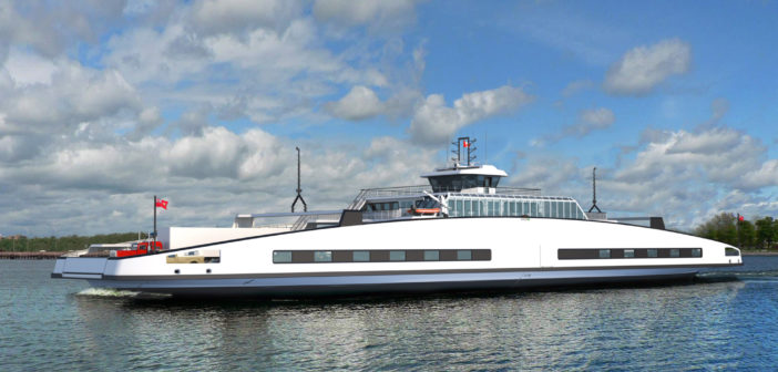 The Wolfe Island ferry will have a length of 98 m and a width of 25 m for transporting up to 399 passengers and 75 cars. Schottel photo