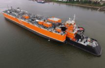 Ocean Tug & Barge Engineering (OT&BE) handled the tug and barge contract design for an ammonia transport barge ATB that was one of WorkBoat's Significant Boats of 2017. OT&BE photo