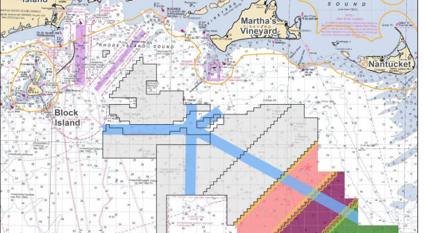 The Bureau of Offshore Energy Management says it will require vessel transit corridors (shown in light blue) through offshore wind energy leases off New England. BOEM image.