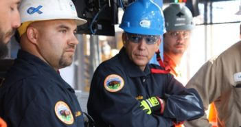 Bureau of Safety and Environmental Enforcement Director Scott Angelle (center) accompanies BSEE Inspector Josh Ladner (left) on an offshore drilling operations inspection. BSEE photo