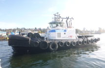 The 5,000-hp harbor tug is being moved from Long Beach, Calif., to Anchorage, Alaska. Foss Maritime photo