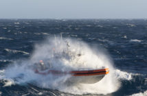 The long range interceptor (LRI II) must operate in extreme conditions at times. Bryan Goff USCG photo courtesy of MetalCraft Marine US
