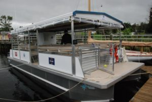 The Pohatcong II has ADA-compliant access for passengers and a man overboard rescue platform. Kirk Moore photo.
