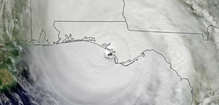 A satellite image of Hurricane Michael at landfall, Oct. 10, 2018. NASA Earth Observatory image.