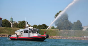 The aluminum boat, with a 2' draft, is the first Interceptor-class fireboat built by MetalCraft. MetalCraft Marine US photo
