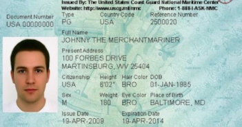 A sample Merchant Mariner Credential. Coast Guard image.