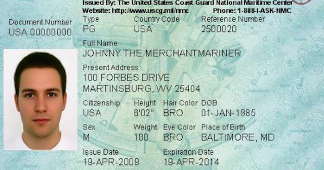 A sample Merchant Mariner Credential. Coast Guard image.