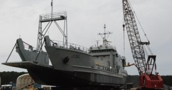 The Brandy Station, a Runnymede-class Army landing craft, being readied for launch at Metal Trades Inc. at Yonges Island, S.C. Kirk Moore photo.