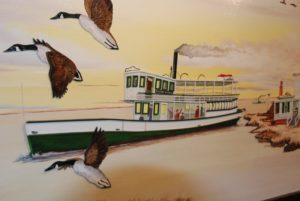 The original Pohatcong was a steam ferry that ran in the 1870s. Painting by Dennis Seeley/courtesy Tuckerton Seaport.