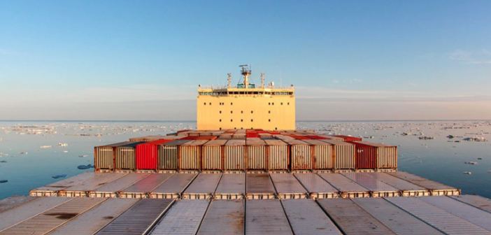 The containership Venta Maersk completed a transit through the Bering Strait and off Siberia westward to St. Petersburg, Russia. Maersk photo.
