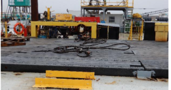 STRUXURE® Composite Mats will not absorb water or other liquids and resist salt and most chemicals for long service life in any environment. Pictured is a two-year-old installation on an Orion Marine barge in Channelview, Texas. Axion Structural Innovations photo