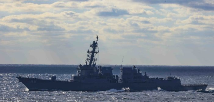 The guided missile destroyer Bainbridge underway in the Atlantic in October 2018. U.S. Navy photo.