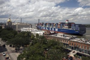 The 14,000 TEU CMA CGM vessel Theodore Roosevelt sails past historic River Street to the Port of Savannah in September 2017. Georgia Ports Authority photo/Stephen Morton.