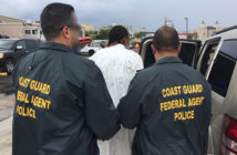 Coast Guard Investigative Service agents transfer Doel Joel Ortiz Cirino, one of Puerto Rico's Top Most Wanted criminals, from the Coast Guard Cutter Joseph Napier to local authorities at Coast Guard Sector San Juan, Puerto Rico, Thursday, May 3, 2018. Ortiz Cirino was wanted by local law enforcement for the 2017 murder of a 3-year-old female. Coast Guard photo/Ricardo Castrodad.