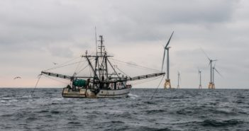 The Rhode Island-based fishing vessel Virginia Marise near the Block Island Wind Farm. Deepwater Wind photo.