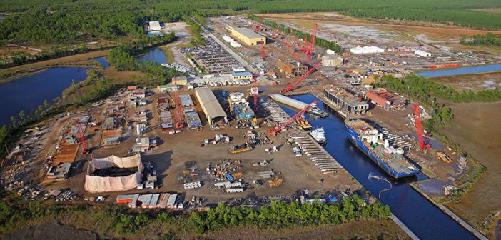 Eastern Shipbuilding Group's two main shipyards are back to work just two weeks after Hurricane Michael devastated the Panama City, Fla., area. Eastern Shipbuilding Group photo