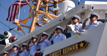 The crew of Coast Guard Cutter Forrest Rednour mans the rail during the cutter's commissioning ceremony, Nov. 8, 2018, in San Pedro, Calif. U.S. Coast Guard photo by Fireman Taylor Bacon