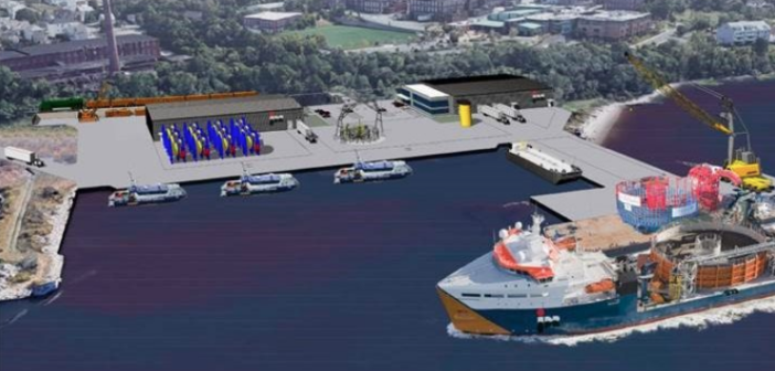 A rendering of a planned cable service base for offshore wind energy. JDR Cable Systems image.