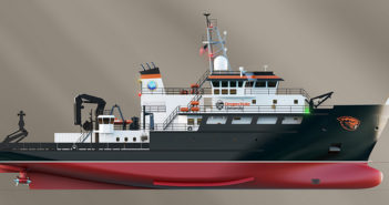 The first 199' research vessel for the National Science Foundation is under construction in Houma, La. Glosten Associates rendering