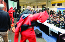 The survival suit challenge is the final contest for the Fisherman of the Year competition at the annual Pacific Marine Expo. Doug Stewart photo.