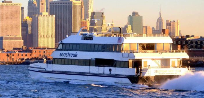 A Seastreak ferry in New York Harbor. Seastreak photo.