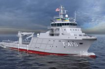 Designated as T-ATS(X) by the Naval Sea Systems Command (NAVSEA), the new class of vessels will be based on existing commercial towing offshore vessel designs . Gulf Island Shipyards rendering
