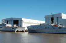 Littoral combat ship (left) and expeditionary fast transport vessel (right). Ken Hocke photo